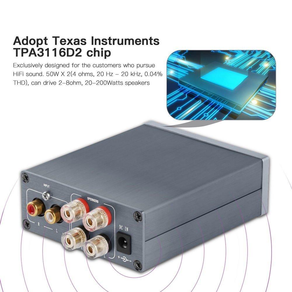 2 Channel Stereo Audio Class D Amplifier Mini Hi Fi Two Way 20 Watts Professional Digital Amp Home Speakers 50w X V10g Electronics
