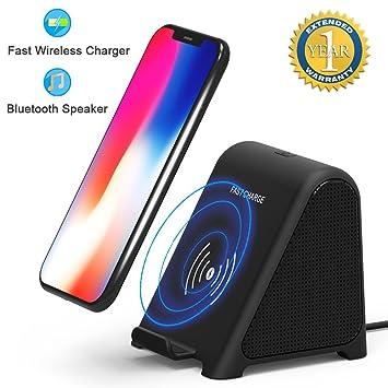 Altavoz Bluetooth con Cargador Inalámbrico,2 en 1 Reproductor estéreo de Audio doméstico portátil y 10 W / 7.5 W / 5W para X / 8/8 Plus/Samsung S8 / ...