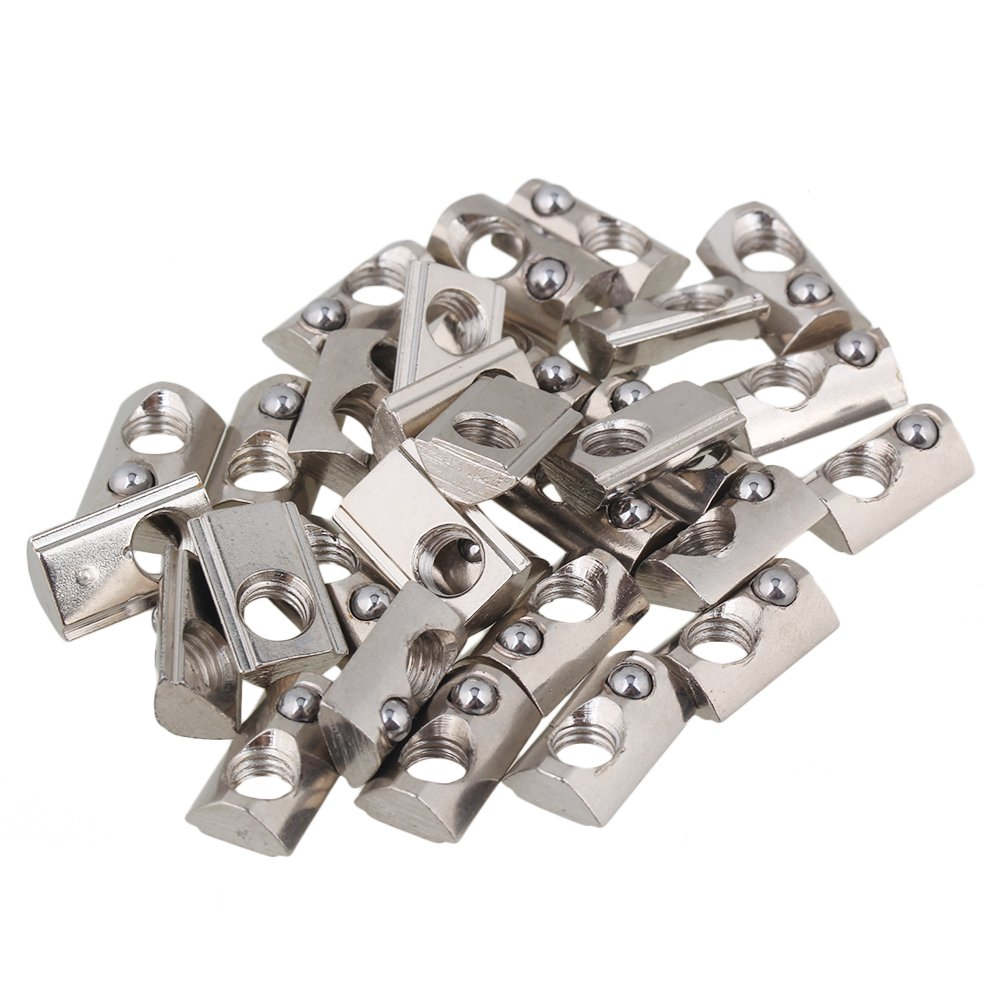 Silber CNBTR T-Nut aus Carbonstahl halbrund 30 St/ück BHBUKALIAINH1430 europ/äischer Standard silber