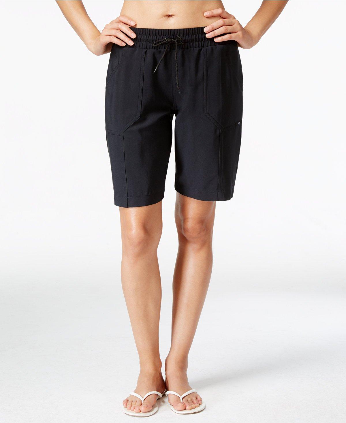 JAG Women's Drawstring Long Length Board Shorts (Small, Black)