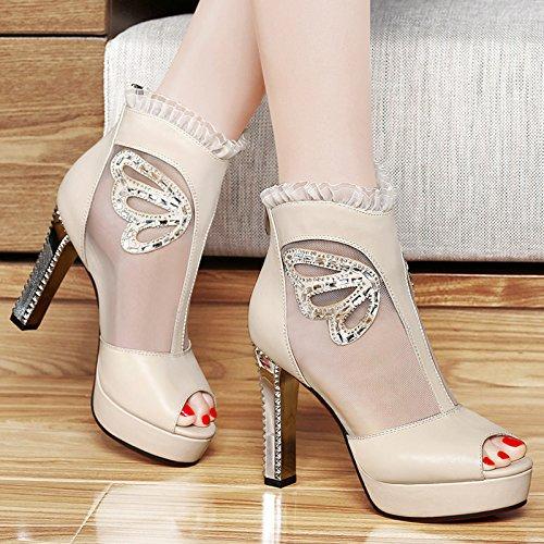 Tacones altosBoca de tacón hilo zapatos Pescado sandalias verano de HUAIHAIZ Beige transpirable sandalias dR4nFxqA