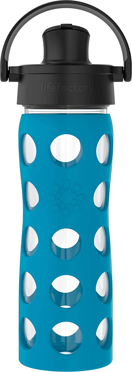 Lifefactory 16-Oz Glass Active Flip Cap/Silicone Sleeve Water Bottle, 16 Ounce, Teal Lake