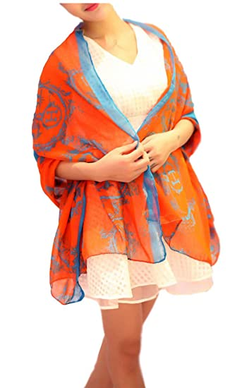 femmes Fille Foulard Voile Orange Lettre H  Cheval ¨¦charpe Chale CHECHE 3e8aa939f16