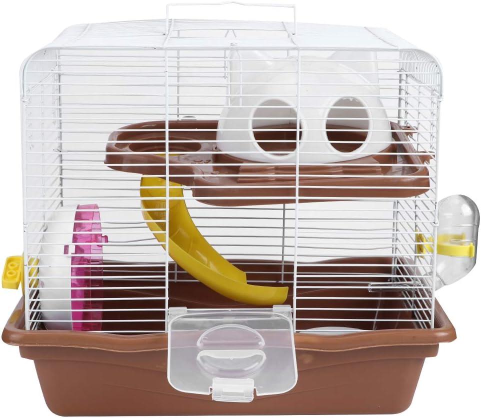 Jaula de hámster, doble capa Jaula de alambre de hierro para animales pequeños con rueda de ejercicio Botella de agua Diapositiva Tazón de comida y escondite 13.78x10.4x12.6in (color aleatorio)