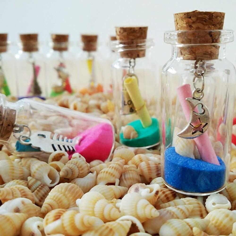 CDWERD 96 Unidades Mini Botellas de Cristal de Corcho con 100 Ojos Tornillos Arena para el Almacenamiento de Especias etc.