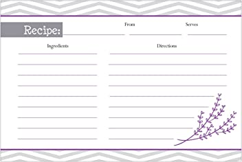One Jade Lane - Chevron Recipe Cards, (Set of 40 Cards) Double Sided.
