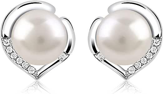 B.Catcher Pendientes Perlas Mujer Plata de Ley 925 ''El Lenguaje del corazón'' con Para Regalo Originales