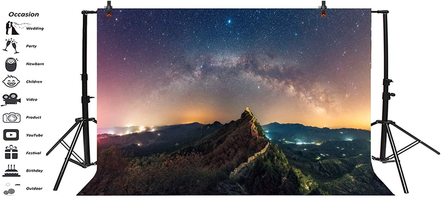 The Great Wall Nightscape Abstract Grunge Nebula Backdrop 10x6.5ft Polyester Famous Chinese Scenic Spot Landscape Background Tourism Resort Holiday Vacation Wallpaper Studio Props