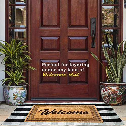 Buffalo Checkered Door Mat (27.5 x 43 Inches) Plus Anti-Slip Floor Mat - Black and White Plaid Farmhouse Rug - for Entry Way Layered Welcome Door Mat and for Porch, Kitchen, Bathroom.