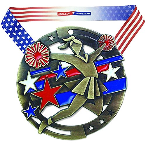 Decade Awards Cheerleading M3XL Premium Die Cast Color Medal - Gold | Great Medal for Any Spirit Squad | Includes Stars and Stripes American Flag V Neck Ribbon | 2.75 Inch Wide