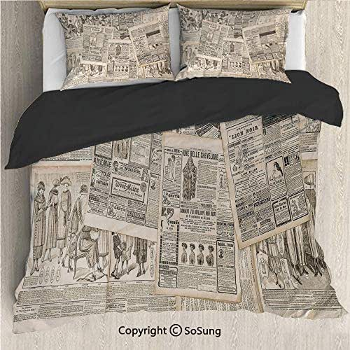 Old Newspaper Decor Black Bedding Set,Nostalgic Aged Pages with Antique Advertising Fashion Magazines Print Decorative King Size Decorative 3 Piece Duvet Cover Set with 2 Pillow Shams,Black Tan