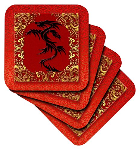 Red Tile Coaster - 3dRose Chinese Zodiac Year of The Dragon Chinese New Year Red, Gold and black - Ceramic Tile Coasters, Set of 4 (cst_101857_3)