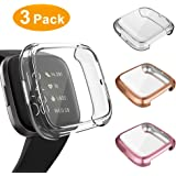 3 Pack Screen Protector Compatible Fitbit Versa 2 Case, GHIJKL Ultra-Thin Slim Soft TPU Protective Case All-Around Full Cover Bumper Shell for Fitbit Versa 2 Smart Watch, Clear,Rose Gold,Rose Pink