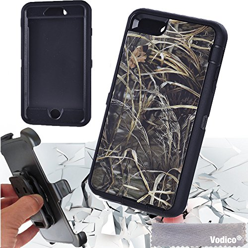 For iPhone 6 plus 5.5 inch,Vodico®Heavy Duty Full Body Protective high impact Defender Series Tree and Grass Forest Camo Hard Case Cover with Belt Clip Holster w/ Built-in Screen Protector-Grass Blac