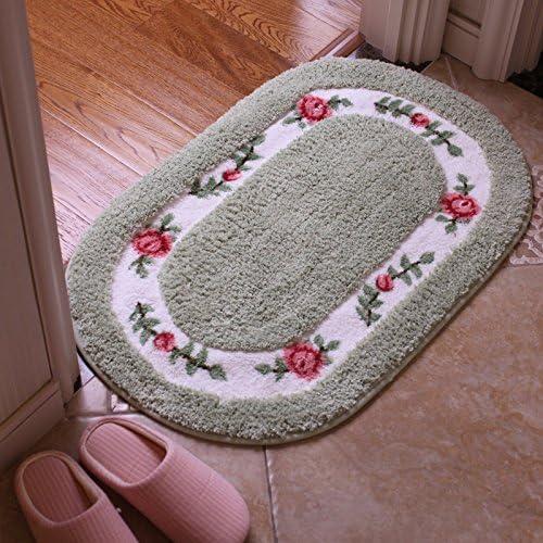 Jeaqw Home Idílico Rosa Oval Absorbente de Agua Antideslizante Suave Alfombrilla de baño Estera de baño Estera Felpudo Puerta corredera Estera de Puerta (Color : Green, Size : A): Amazon.es: Hogar