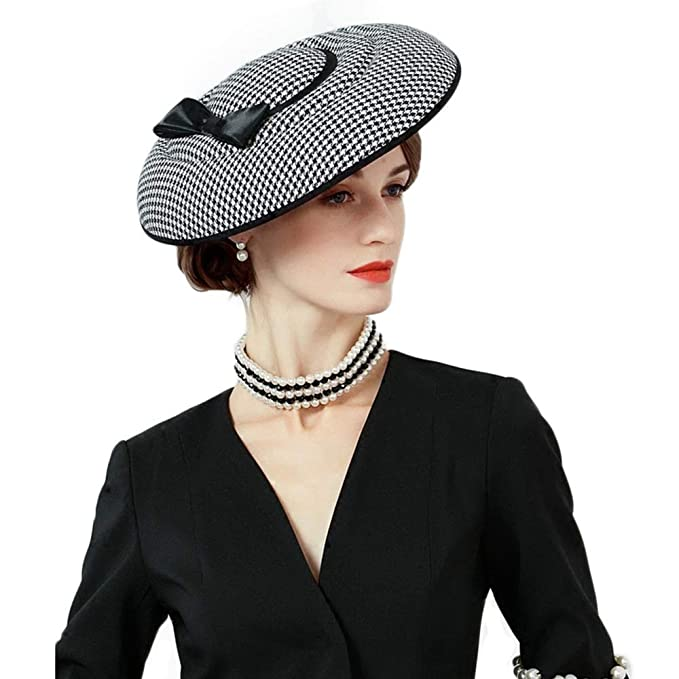 1950s Women's Hat Styles & History FADVES Fascinator Hats Houndstooth Bow Pillbox Wide Brim Cocktail Church Wedding Hat $39.99 AT vintagedancer.com