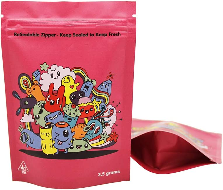 AT - 50 Smell Proof Mylar Bags - 3.5x5 inch Resealable Ziplock Stand-up Foil Bags Food Safe Aluminum Material(3.5x5 in. (3.5 grams) - by AT (Red Garden Party)