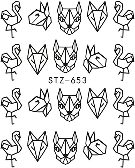 Pegatinas de uñas de Dibujos Animados con diseño de líneas de ...