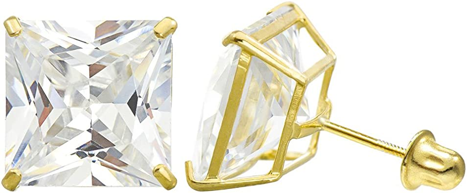 Details about  /10K Yellow Gold Butterfly White Cubic Zirconia CZ Stud Earrings