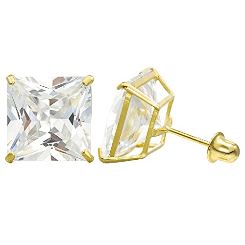 10K Yellow Gold Princess Cubic Zirconia CZ Double Basket Screw Back Stud Earrings – 3 mm to 10 mm