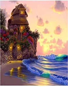 5D Diamond Painting Garden Cottage by The Sea Full Drill by Number Kits, DIY Rhinestone Pasted Paint with Diamond Set Arts Craft Decorations 16x20 inch