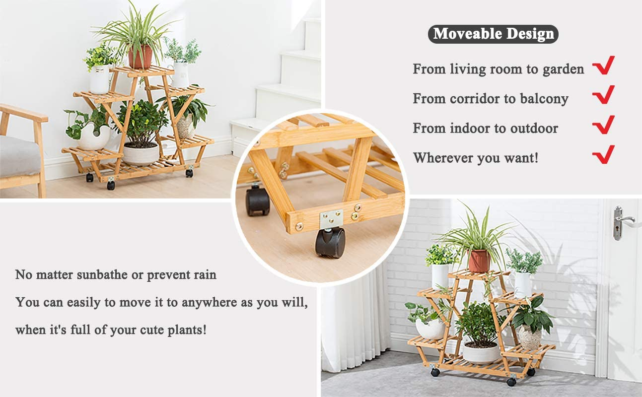 B07VZBQWCG Bamboo Rolling 6 Tier Plant Stand Rack Multiple Flower Pot Holder Shelf Indoor Outdoor Planter Display Shelving Unit for Patio Garden Corner Balcony Living Room 71OWB0mccJL