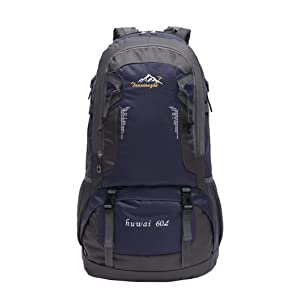 OUBAO 60L Outdoor Camping Travel Waterproof Mountaineering Backpack (Dark Blue)