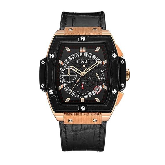 Hombre Cuarzo Multifunción En forma de barril Deportes Watch,Moda Correa de cuero Impermeable Calendario Reloj de pulsera-negro-B: Amazon.es: Relojes