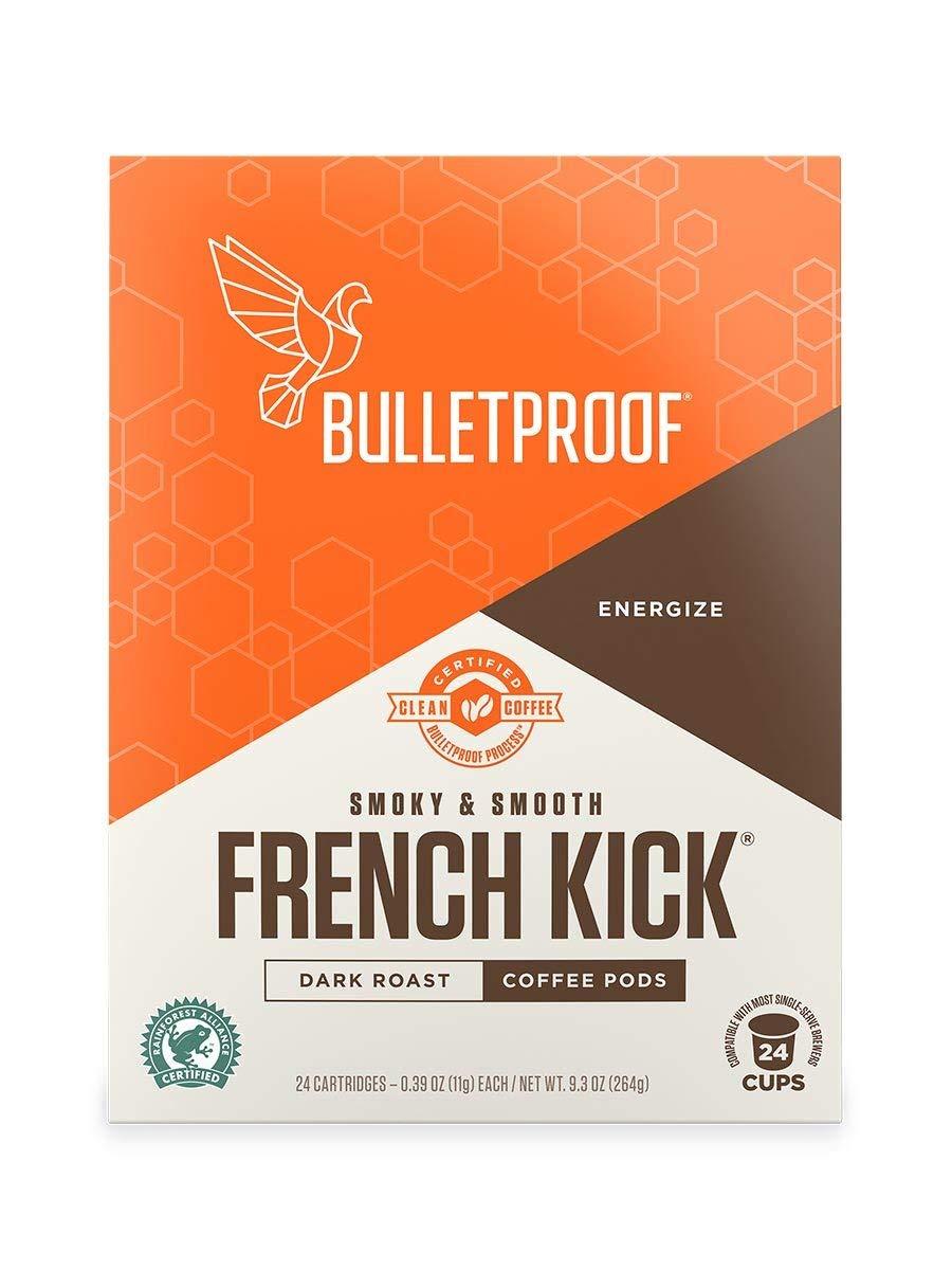 Bulletproof French Kick Roast Coffee Pods, Premium Dark Roast, Organic, single-serve Cups, compatible with Keurig, Keurig 2.0 (24 Count)