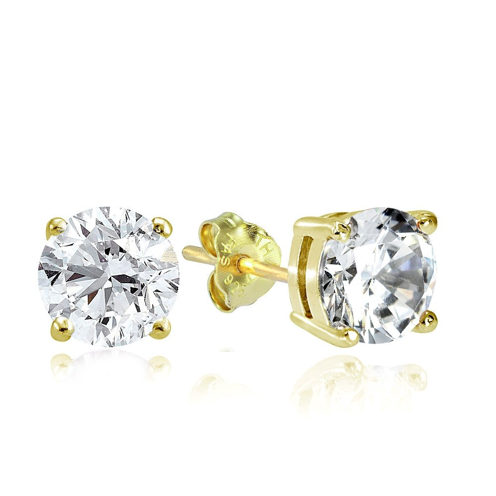 Hoops & Loops Yellow Gold Flash Sterling Silver 4ct Cubic Zirconia 8mm Round Stud Earrings