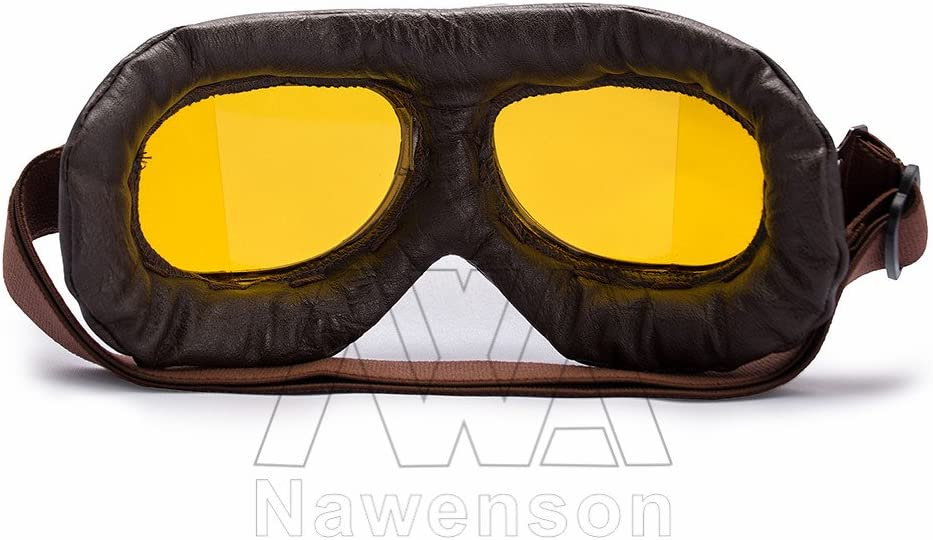 Nawenson Moto Style Vintage Aviator Pilot Lunettes en Cuir rembourr/é Doux Racing Lunettes de Sport