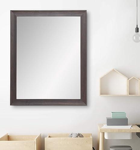 BrandtWorks AV17LARGE Urban Wood Vanity Wall Mirror, 31.5 x 38, Distressed Brown