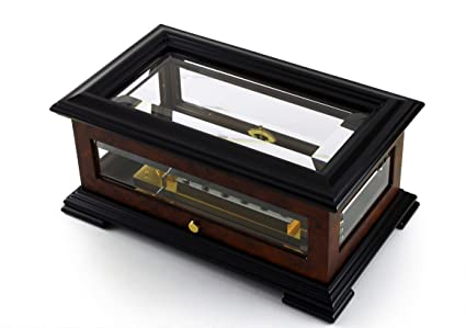 Incredible Beveled Crystal and Elm Swiss 3 Part 72 Note Reuge Music Box -  Many Songs Available - Volga Air (Bach) 3 Parts