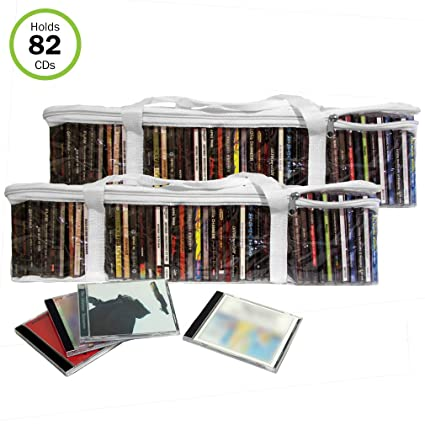 Evelots CD Music Storage Clear Bags,Easy to Carry, Holds 82 CD's Total,Set/2