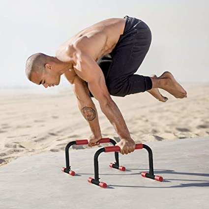 Rubberbanditz Parallettes Push Up & Dip Bars   Lightweight, Non-Slip  Parallete Stand for Crossfit, Gymnastics, Bodyweight Training Workouts