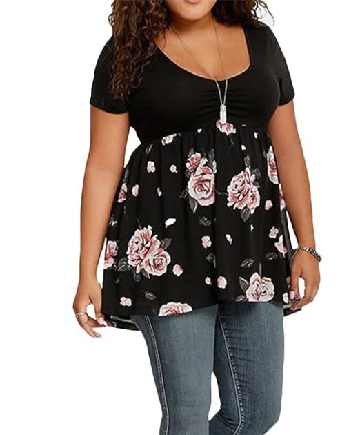 Amazon.com: De la Mujer Plus Tamaño túnicas parte superior ...