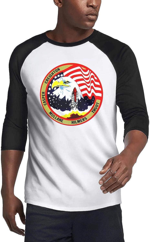 DoorSignHHH Men's Baseball T Shirts Designer NASA-Space-Shuttle-Viewing-Adventures- Golf Breathable 3/4 Sleeve T Shirt