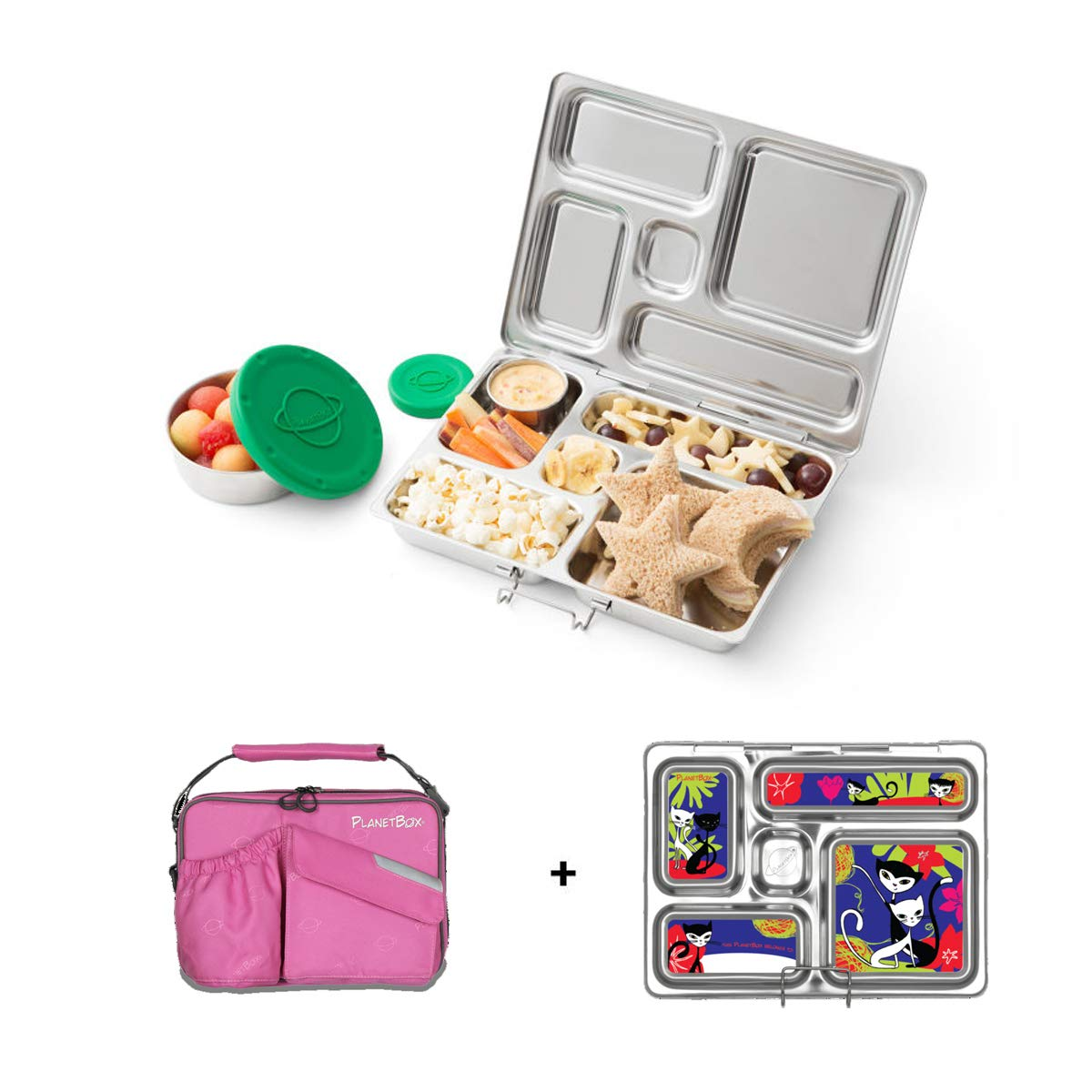 PlanetBox ROVER Eco-Friendly Stainless Steel Bento Lunch Box with 5 Compartments for Adults and Kids - Perfectly Pink Carry Bag with Retro Kitty Magnets