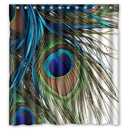 Custom Waterproof Fabric Bathroom Shower Curtain Peacock 66