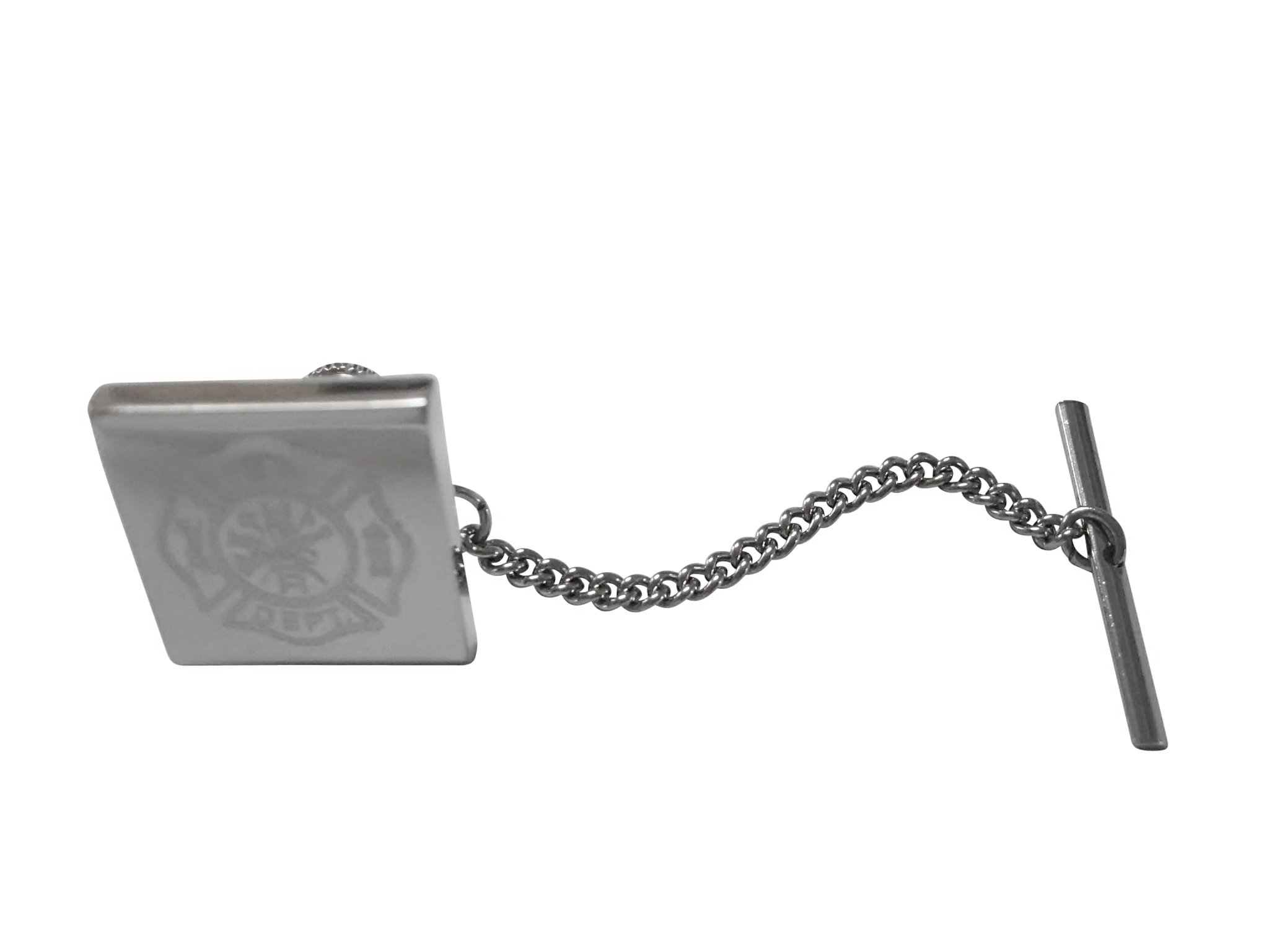 Silver Toned Etched Fire Fighter Emblem Tie Tack