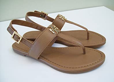 daeec2ae3af386 Tory Burch Laura Flat Sandal with Strap Style 36487 Royal Tan Gold (8.5)