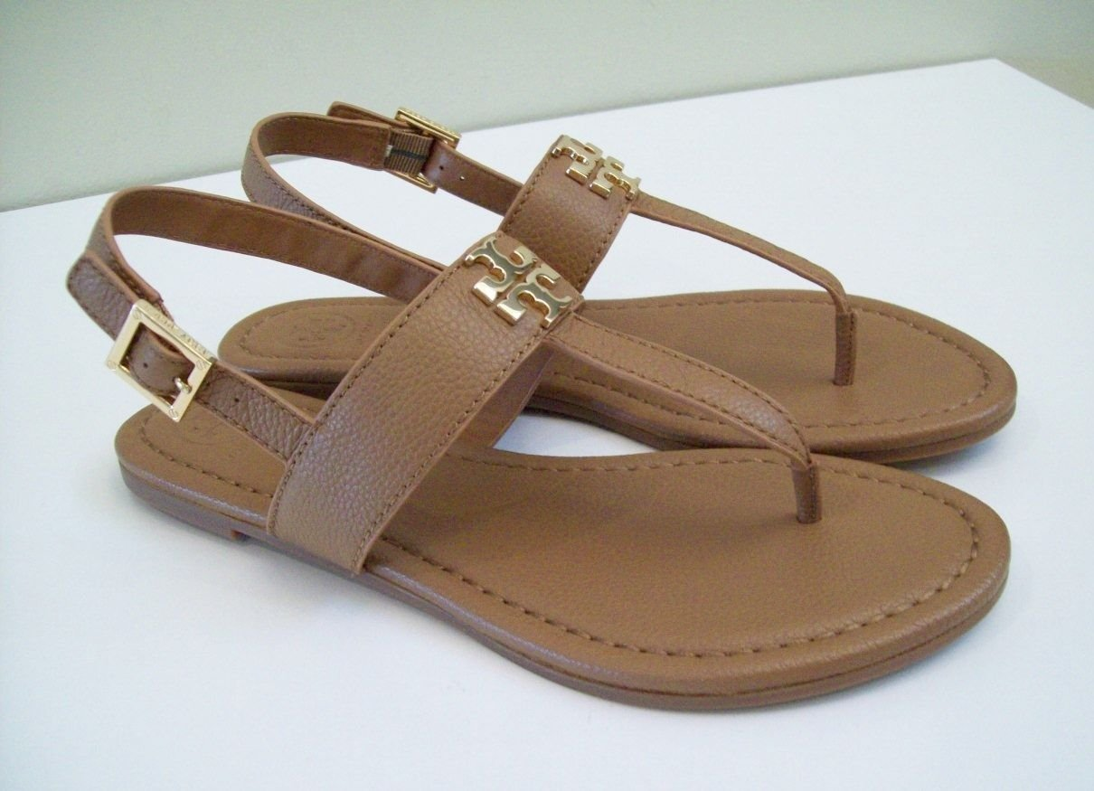 Tory Burch Laura Flat Sandal with Strap Style 36487 Royal Tan Gold (8.5)