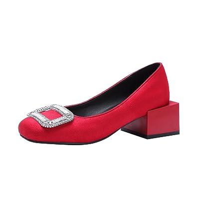 YE Damen Geschlossene Pumps Blockabsatz High Heels mit Glitzer Vierkant Elegant Simple Schuhe
