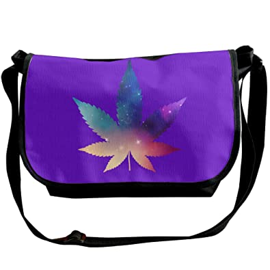 Marijuana Leaf Galaxy Weed Stoner Unisex Casual Messenger School Adjustable Shoulder Tote Bag Travel Crossbody Bag Wide Diagonal Bag Single Shoulder Bag
