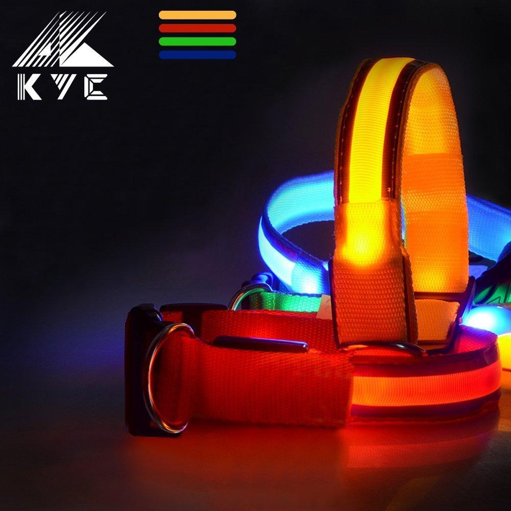 KYC, taille M/L 4 couleur clignotant Led collier pour chien avec collier d'animal familier lueur dans l'obscurité de la sécurité de la boucle en plastique (L, Rouge)