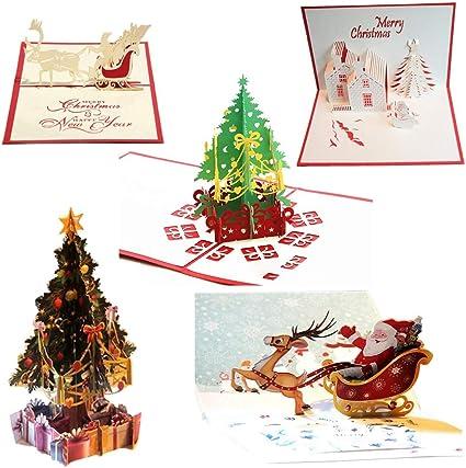 Uniqstore 5 Pack de tarjetas de Navidad 3D Pop Up tarjetas de felicitación con sobre: Amazon.es: Oficina y papelería