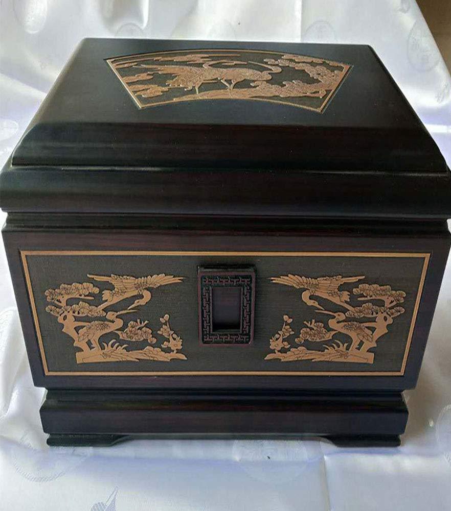 Luxury Ebony urn Box Pine Crane Evergreen Exquisite Carved Coffin Funeral Supplies Crafts Peace pet Coffin Funeral Sacrifice Supplies