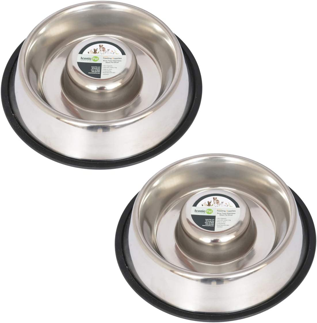 Iconic Pet Slow Feeding Stainless Steel Bowl with Anti-Skid Rubber Ring in Varying Sizes Noise Free Stable Pet Feeding Bowl for Dogs//Cats Reduces Chocking and Over Eating Habit for Better Digestion