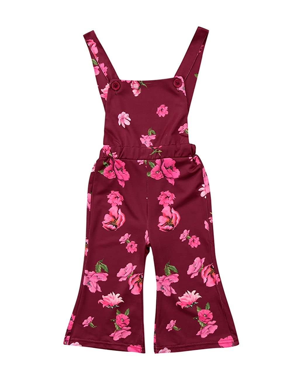 Urkutoba Rose Floral Print Infant Baby Girl Sleeveless Backless Halter Strappy Jumpsuit Sunsuit Bell Pants Romper Overall