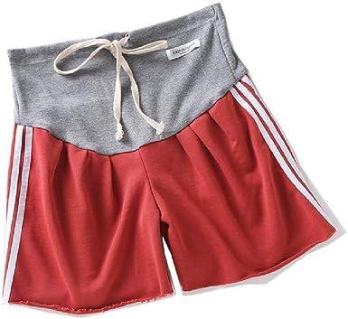 U/A Ropa para el hogar de Las Mujeres Algodón Puro Tejido Deportivo Cordón Corto Rayas Laterales Cintura Alta Ropa de mamá Ropa de Maternidad Embarazo: Amazon.es: Ropa y accesorios